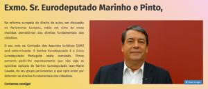 Associações apelam ao Eurodeputado Marinho e Pinto @marinhopintoeu que trave ataques aos direitos fundamentais #FixCopyright
